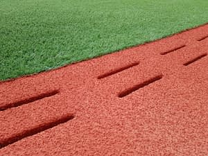 Soccer Field Synthetic Turf Installation Rubber and Turf Separation