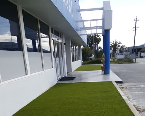 Artificial Grass Installation Outside Mandurah Commercial Building