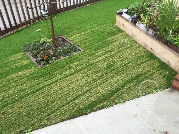 damaged artificial lawn